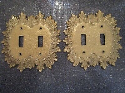 VINTAGE Lot Of 2 Double Light Switch Plate Ornate Covers