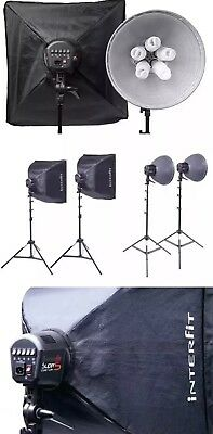 INTERFIT INT117 Super CoolLite 5 Dual Head Kit 2xSoftboxes 2xReflectors 2xStands