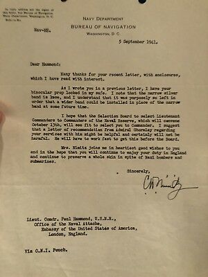 Fleet Admiral Chester Nimitz Signed Letter With Great Content In 1941