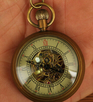 Ancient full manual mechanical pocket watch  Copper Statue collectable
