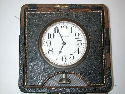 Waltham 8-Day Car/Travel Clock in Leather Case.  100H