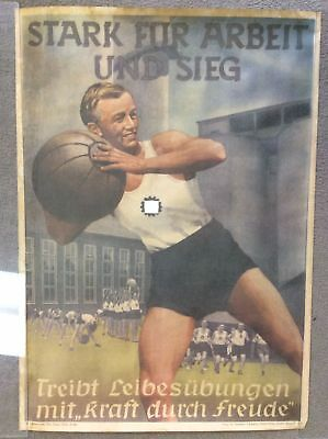 """German Labor Union Propaganda Poster DAF """"Strong For Work and Victory"""" WWII Era"""