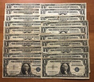 Lot of 20 Circulated 1935 Silver Certificate $1 Dollar Notes - No Reserve