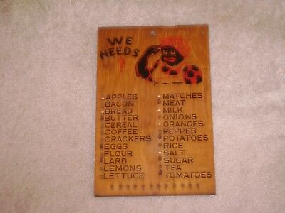 """Vintage 1940's-50's Black Americana-""""We Needs""""-Wooden Grocery List With Pegs"""