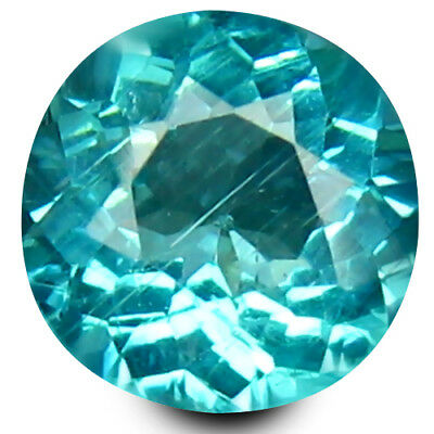 0.80 ct Round Cut (6 mm) Un-Heated Paraiba Blue Color Brazilian Apatite Gemstone