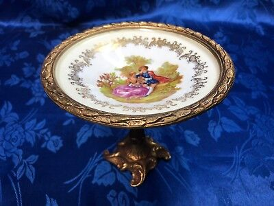 Antique FRENCH Ormolu Hand Paint Fragonard  Compote Footed Candy Dish