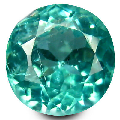 0.85 ct Round Cut (6 mm) Un-Heated Paraiba Blue Color Brazilian Apatite Gemstone