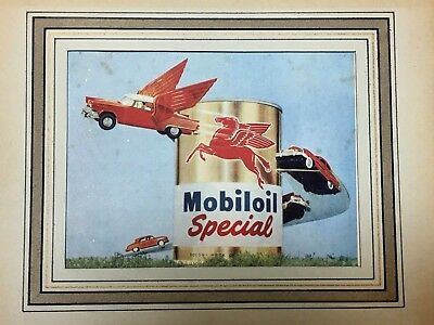 Old Mobil Oil Red Pegasus Advertising Brochure - With frame and glass 20x15 cm