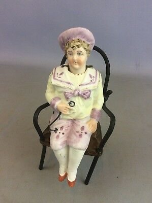 ANTIQUE BISQUE Boy on Chair WITH NODDING HEAD Available Worldwide