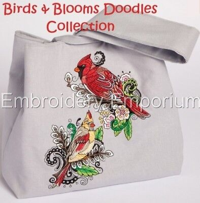 Birds & Blooms Doodles Collection - Machine Embroidery Designs On Cd