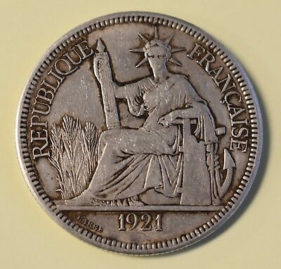 ( 1 ) 1921 French Indo-China  Piastre .900 Silver Coin