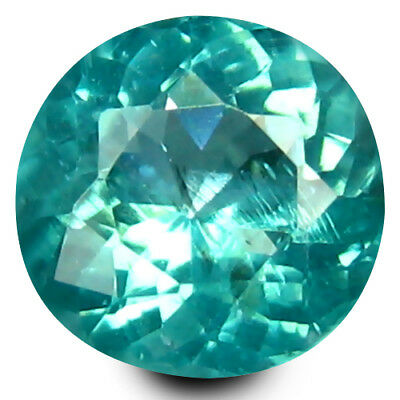 0.64 ct Round (5.5 mm) Un-Heated Paraiba Blue Color Brazilian Apatite Gemstone