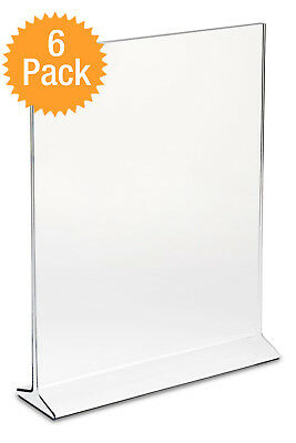 6pk Clear Acrylic Plastic 5x7 Table Tent Menu Holder Card Display Ad Photo Frame