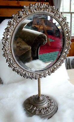 Vintage Antique CAST IRON VANITY DRESSER MIRROR