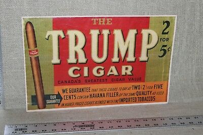 RARE 1920's TRUMP TOBACCO CIGARS STORE DISPLAY WAX PAPER SIGN 2 FOR 5 CENTS