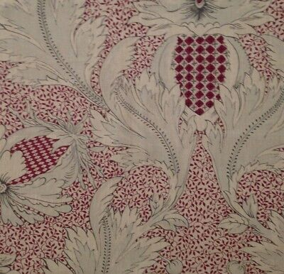 CLARENCE HOUSE Pomegranate red printed linen cotton Remnant New