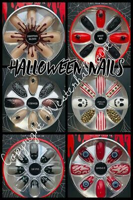 NEW 2018 PRIMARK Halloween False Glue On Nails Fright Club Get Your Freak On