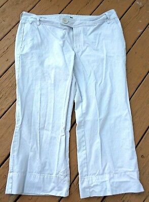 Old Navy Womens Off White Capris Low Waist Size 18  100% Cotton