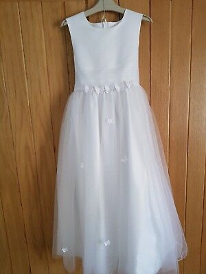 Girls flowergirl/ Holy Communion  White Dress - Age 7 - 8 with matching bag
