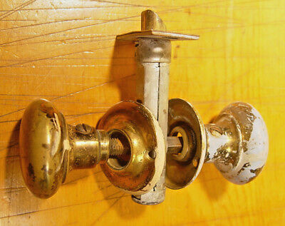Salvaged Antique Brass Vintage Door Knob Set Hardware w/Escutcheons, Back Plates