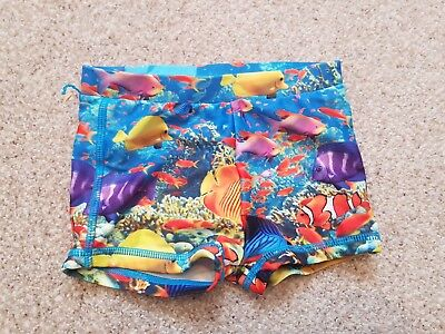 Mothercare Blue Aquatic Fish Multi Coloured Shorts Age 6 - 9 Months
