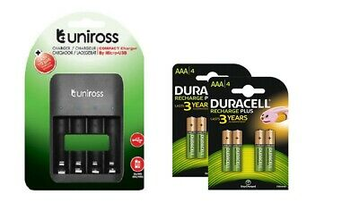 UNiROSS COMPACT CHARGER FOR 1-4 AA & AAA+ 8x AAA DURACELL RECHARGEABLE BATTERIES