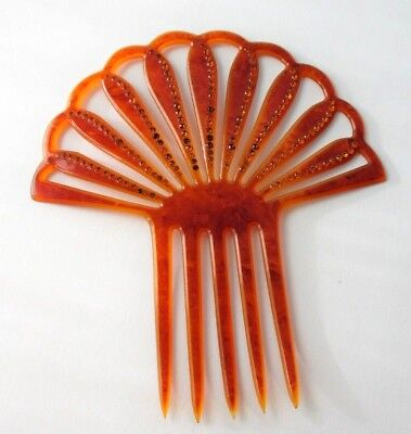 Antique Hair Comb Amber Rhinestone Celluloid Large Victorian Fan Style Accessory
