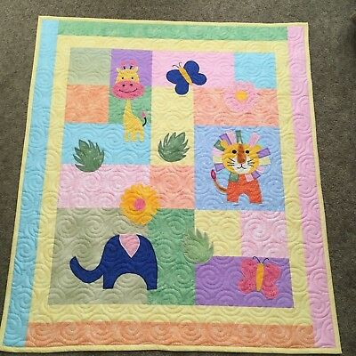Handmade Baby or Toddler Quilt-Zoo Animals