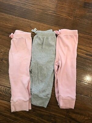 Three Pairs Gap Outlet Cotton Pants Girl 6-12 Months.
