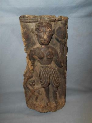 Antique South Nepal TOP VERY HIGH AGED THARU TRIBE WOOD PANEL WITH VILLAGE WOMAN