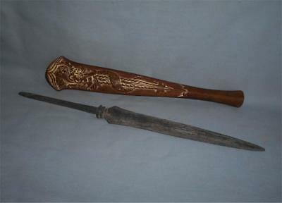 Antique Indonesia Java TOP HIGH AGED IRON SPEARHEAD TOMBAK WITH WOODEN COVER