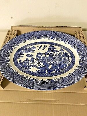"Churchill Blue Willow Serving Meat Platter 14 5/8""L Made In England Nib"