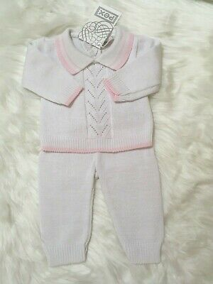 PEX Baby Girl Knitted Spanish Romany Style set Cotton Pink white NB 0-3 3-6 6-9m