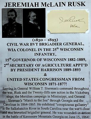 CIVIL WAR GENERAL WIA COLONEL 25th WISCONSIN INFANTRY GOVERNOR AUTOGRAPH SIGNED!