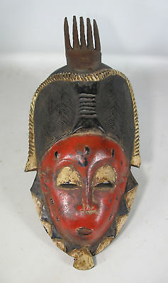 Vintage African Guro Tribe Hand Carved&Painted Wood Face Mask Côte d'Ivoire yqz