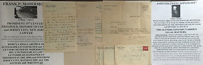 19th c FREEHOLD MONMOUTH COUNTY JERSEY CITY NEW JERSEY LAWYER LETTER SIGNED 1890