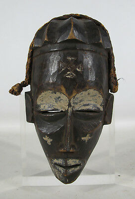 Vintage Miniature African Chowke Tribe Hand Carved Wood Passport Mask Angola yqz