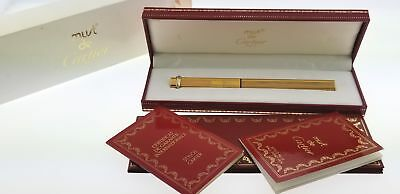 Cartier Vendome Trinity 18k Gold Plated Oval Ballpoint Pen Box Papers No Reserve