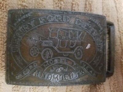 Vintage Henry Ford Detroit Automobiles Belt Buckle numbered collectible