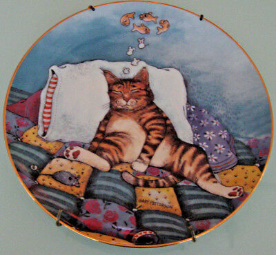 Gary Patterson COMICAL CATS Collector Plate, CAT NAP Limited Edition with Hanger