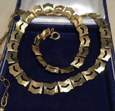 Vintage Art Deco jewellery lovely signed links necklace textured and shiny