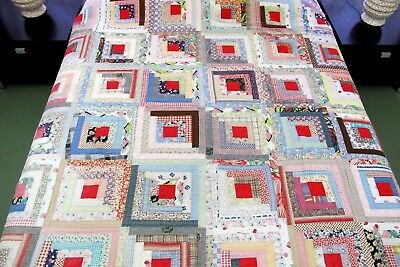 GRAPHIC Vintage Feed Sack Hand Pieced, Quilted LOG CABIN Quilt; Needs Some TLC !