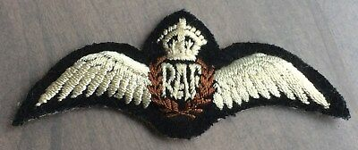 WW2 RAF Royal Air Force pilots wings - Crowned construct - inscription on back