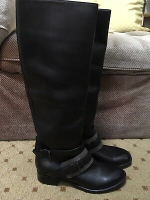 6f0fb601f56c Reed Krakoff Leather Motorcycle Knee High Boots Black Buckle EU 37 US 6-6.5