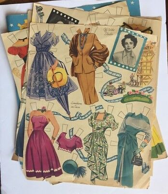 Vintage paper doll clothes, partially cut sheets, Liz T and Claudette C