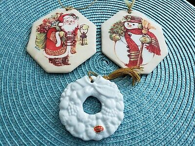 Vintage Avon Holiday Ornaments, 2 Fabric Fragranced and 1 Ceramic, Preowned