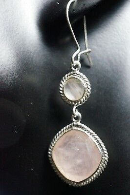 Faceted Rose Quartz Earrings in Fine Solid 925 Silver Earring 5 cm Length