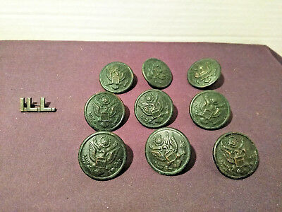 WWI Military Lot of 9 Great Seal Buttons Plus Illinois State Collar Pin ILL