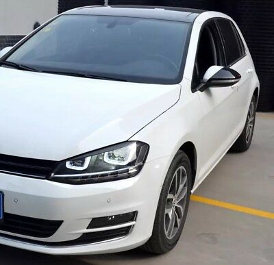 VW Golf 7 Mk7 2013+ ABT Style Wing Mirror Cover Protection Gloss Black Stick On