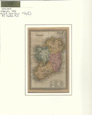 Ireland Starling 1834 Hand Colored Map Illustration with ph neutral mat